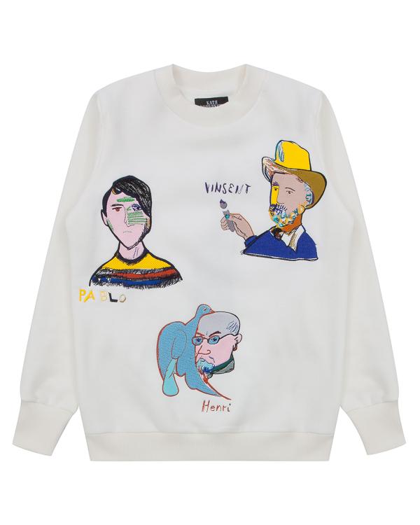 свитшот Artists из хлопка с авангардной вышивкой артикул FW17274artists марки KATЯ DOBRЯKOVA купить за 13500 руб.
