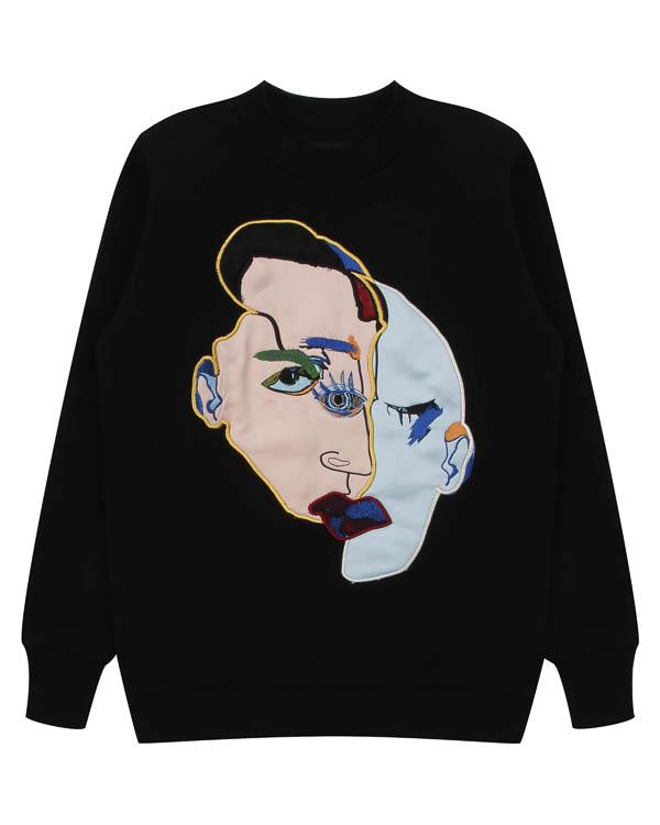 свитшот Face из хлопка с авангардным принтом артикул FW17274face марки KATЯ DOBRЯKOVA купить за 9500 руб.