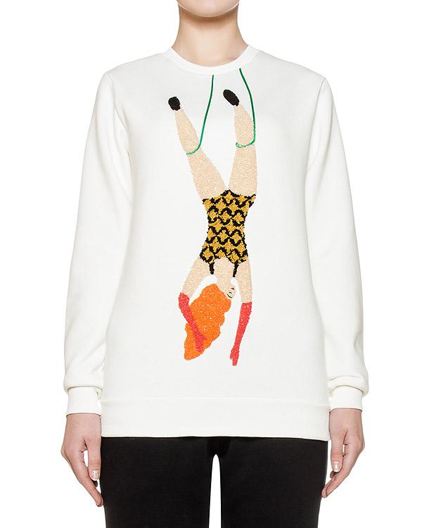свитшот из мягкого хлопкового трикотажа с объемной вышивкой артикул FW17274ginger марки KATЯ DOBRЯKOVA купить за 5900 руб.