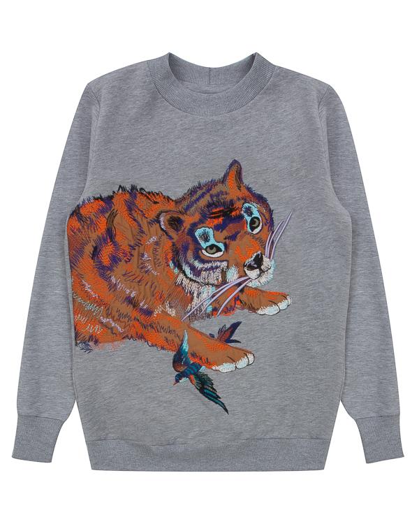 свитшот Tiger из трикотажного хлопка с вышивкой артикул FW17274tiger марки KATЯ DOBRЯKOVA купить за 11500 руб.