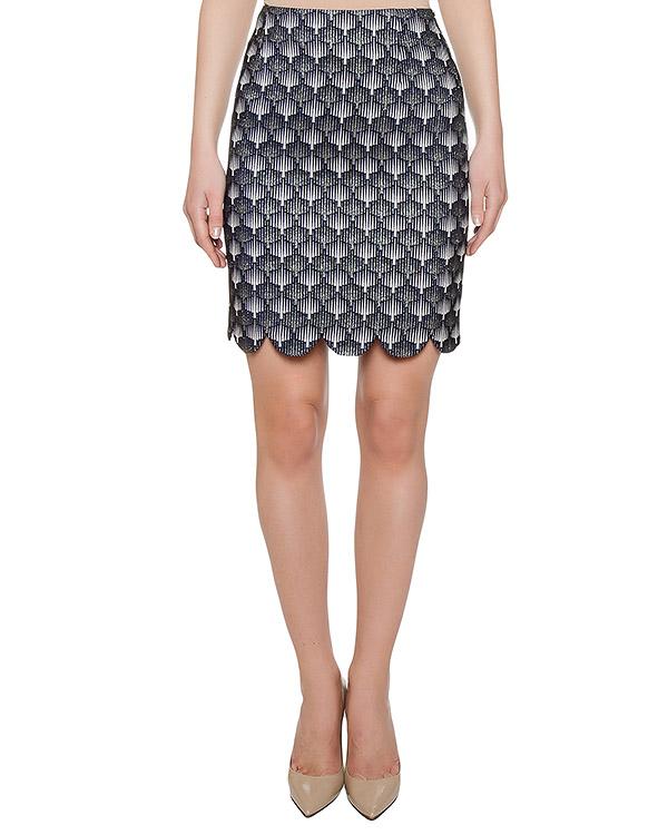 юбка из плотной ткани с узором и фигурным низом артикул FW1769gedsbi марки KATЯ DOBRЯKOVA купить за 4600 руб.