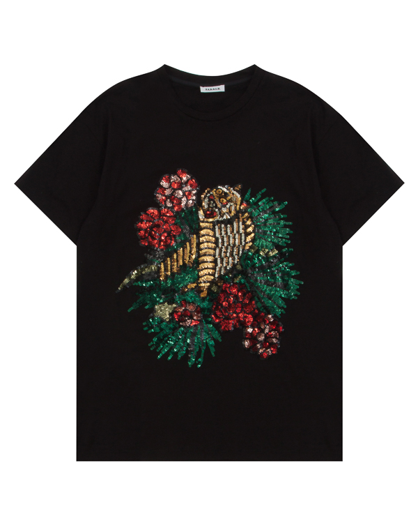 футболка из хлопка с принтом из пайеток артикул GARDEEP110585 марки P.A.R.O.S.H. купить за 12100 руб.
