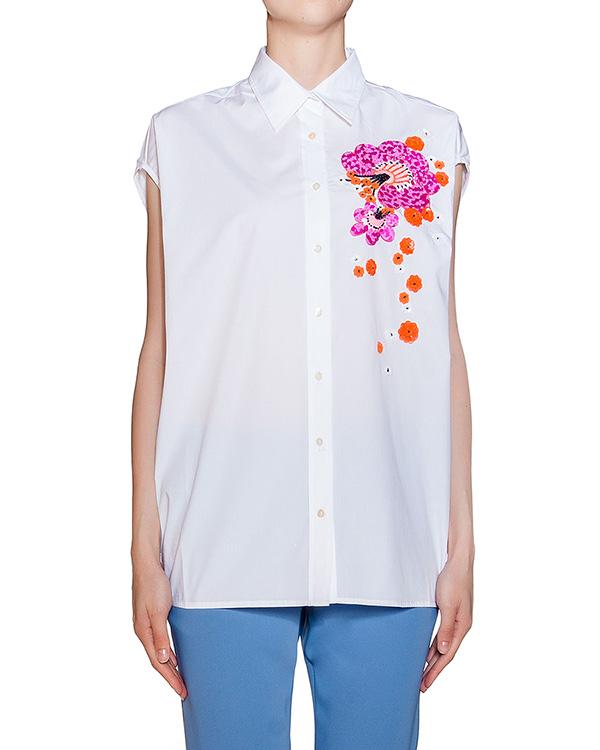 рубашка прямого кроя без рукавов, декорирована пайетками артикул GIOIS380513 марки P.A.R.O.S.H. купить за 13500 руб.