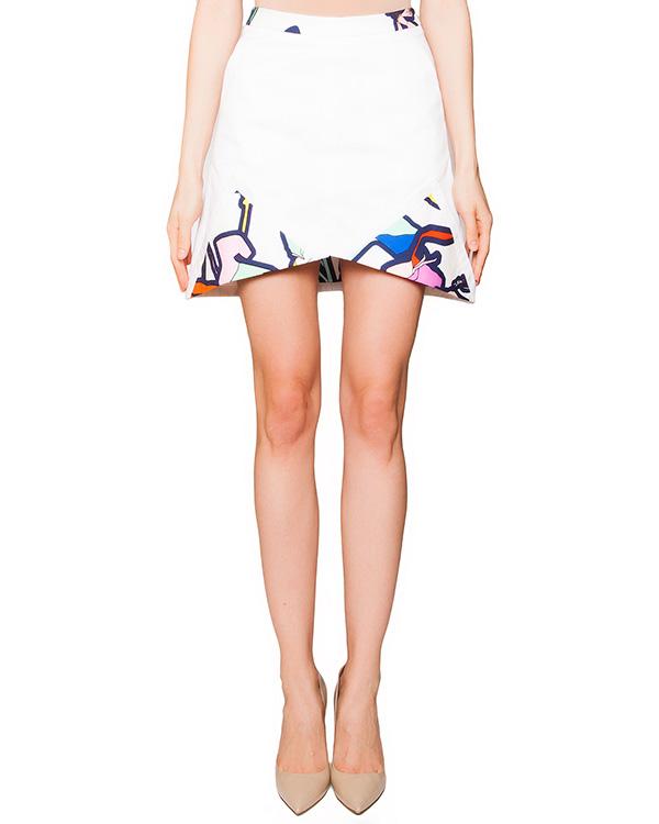 юбка оригинального кроя из плотного хлопка, декорирована вставками с рисунком артикул GL2001L07 марки Giles купить за 8900 руб.