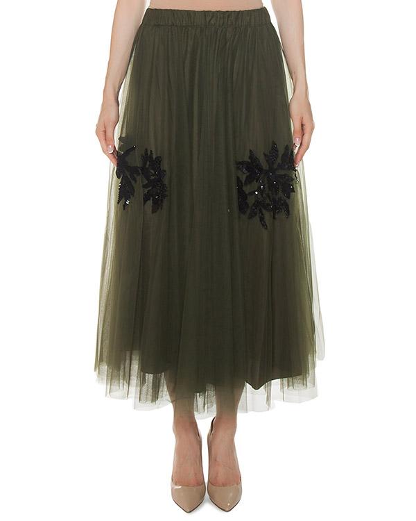 юбка из сетки с вышивкой пайетками артикул GYLU620547 марки P.A.R.O.S.H. купить за 34500 руб.