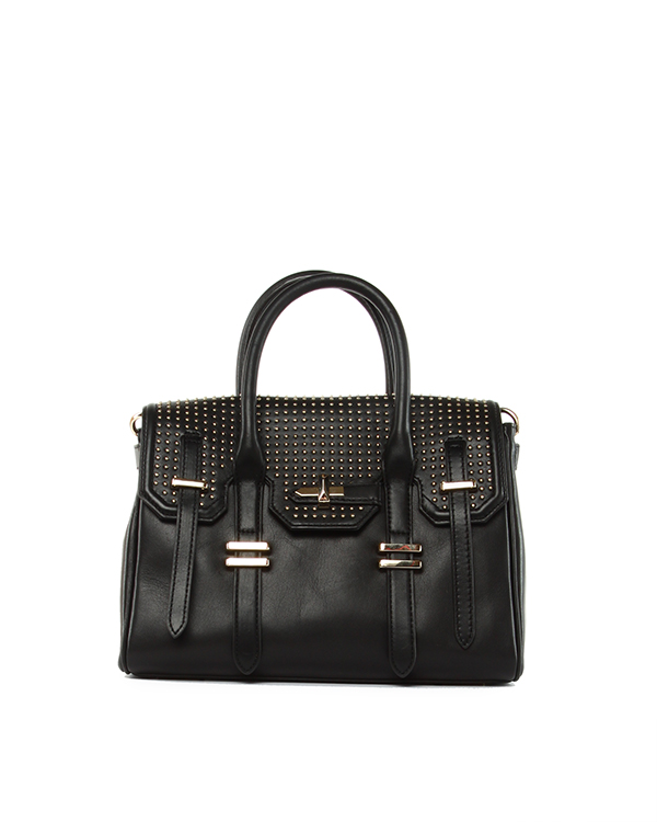 сумка Mini Jules Satchel с клапаном и золотистыми заклепками артикул H413 марки Rebecca Minkoff купить за 12200 руб.