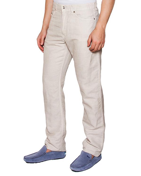 брюки классического прямого кроя из микса хлопка и льна артикул HBW1304HB марки Harmont & Blaine купить за 5600 руб.