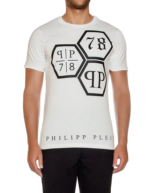 футболка из хлопкового трикотажа с логотипом бренда артикул HM340969 марки PHILIPP PLEIN купить за 10600 руб.