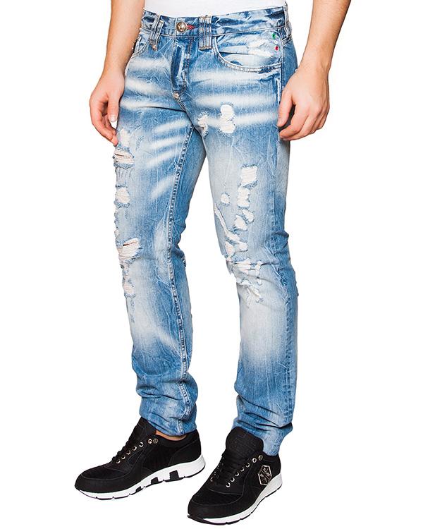 джинсы из плотного денима с потертостями артикул HM592800 марки PHILIPP PLEIN купить за 20400 руб.