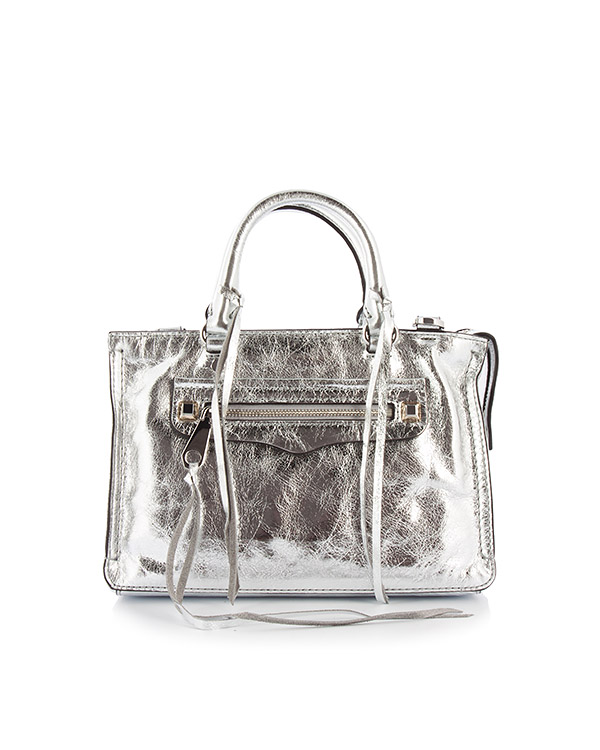 сумка Micro Regan Satchel из серебристой кожи артикул HU17EDSX61 марки Rebecca Minkoff купить за 21100 руб.