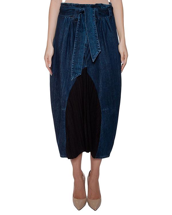 юбка оригинального кроя из плотного денима, дополнена плиссированной вставкой спереди артикул I16I80111 марки MALLONI купить за 10900 руб.