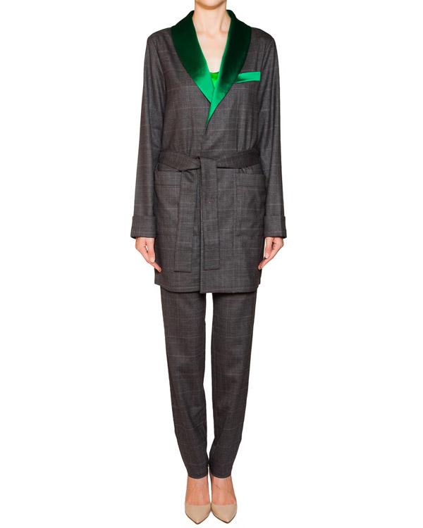 костюм из шерсти с контрастной отделкой; жакет с поясом+брюки прямого кроя артикул IZ2015CL03 марки IZBA rouge купить за 25300 руб.