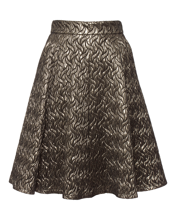 юбка из плотной ткани золотистого цвета с выбитым узором артикул JADORE марки San Andres купить за 15100 руб.