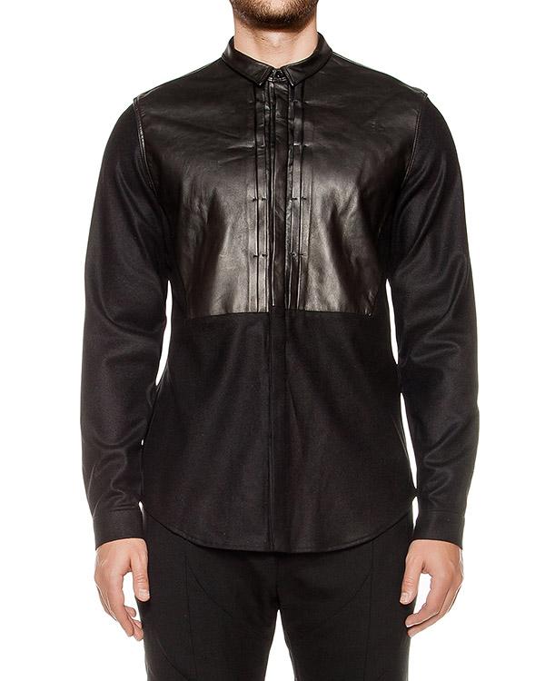 рубашка из шерсти  с кожаной отделкой артикул JC6964P075 марки Juun.J купить за 18900 руб.