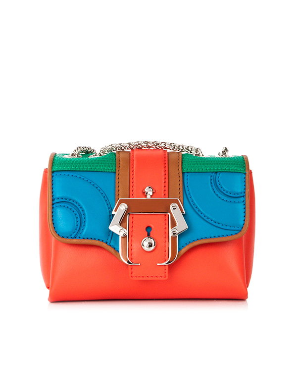сумка из кожи теленка с яркими панелями и металлической фурнитурой артикул KATE марки Paula Cademartori купить за 34900 руб.