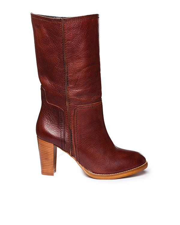 сапоги из фактурой кожи на наборном каблуке артикул KERMAN марки Essentiel купить за 12800 руб.