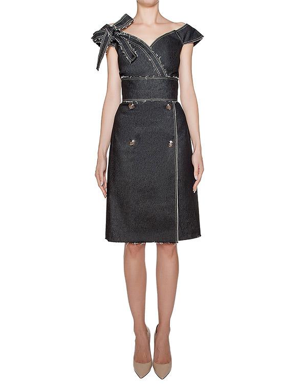 платье из плотного денима с необработанными краями артикул KFW1620 марки Kalmanovich купить за 30200 руб.