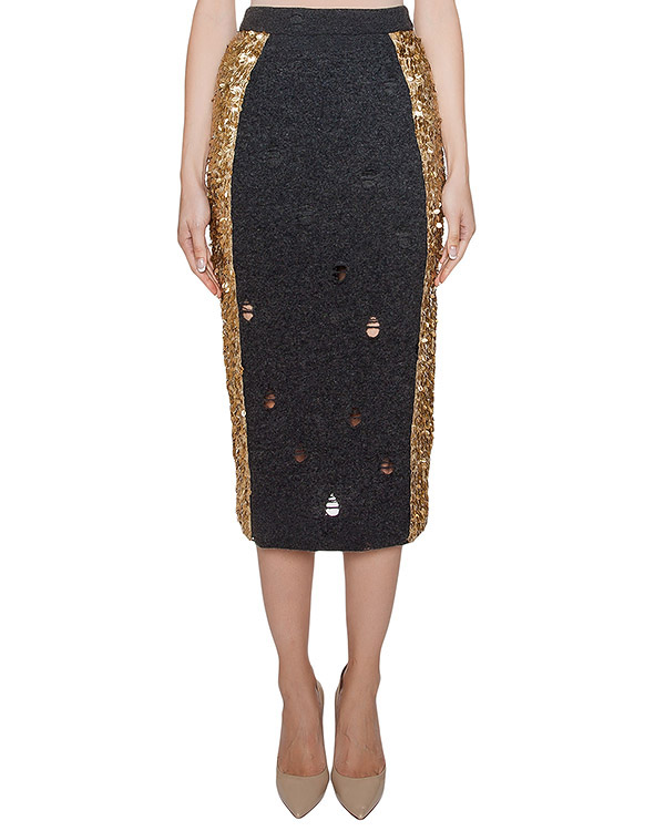 юбка из мягкого шерстяного трикотажа, по бокам расшита золотистыми пайетками артикул KFW1634 марки Kalmanovich купить за 33600 руб.