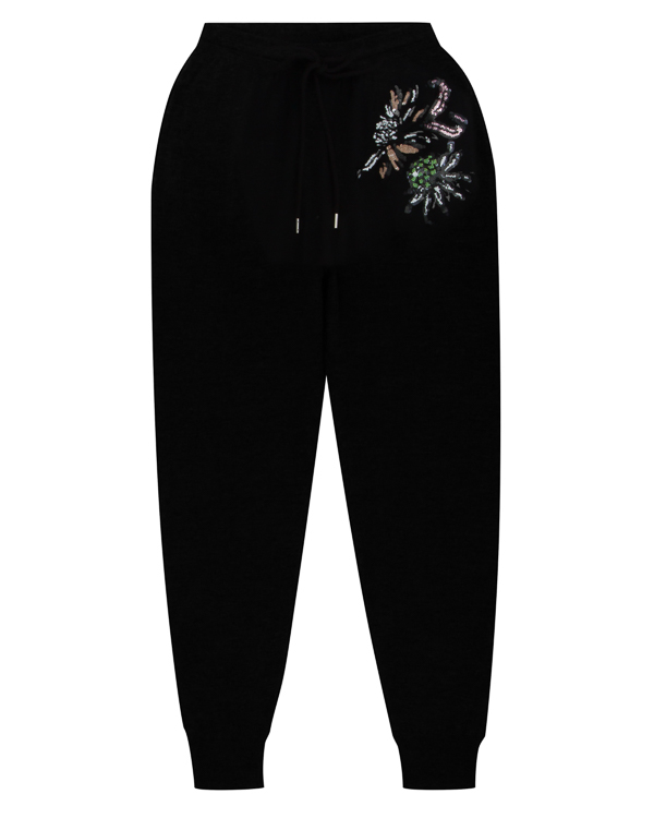брюки из мягкой шерсти с отделкой пайетками и бисером  артикул KN2176 марки Markus Lupfer купить за 30000 руб.