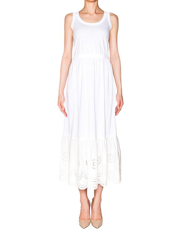платье из тонкого хлопка, низ декорирован кружевной вставкой; завязывается на пояс артикул KR0MJ02Z2BG марки Valentino Red купить за 28500 руб.