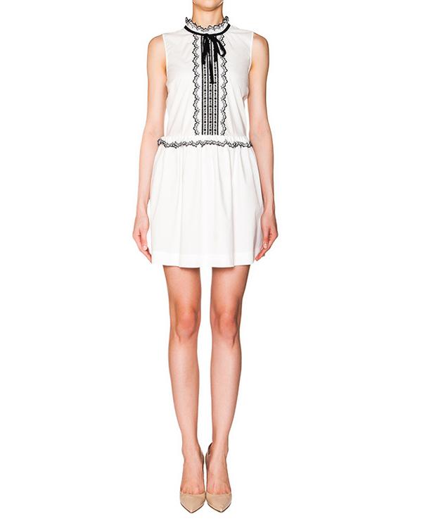 платье из тонкого хлопка с контрастной вышивкой артикул KR0VA02R2AV марки Valentino Red купить за 20300 руб.