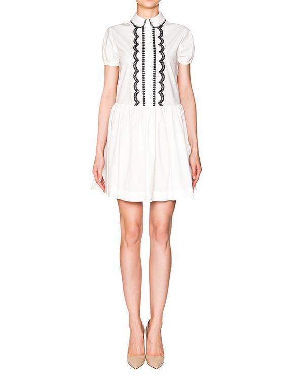 платье из тонкого хлопка с контрастной вышивкой артикул KR0VA02X2AV марки Valentino Red купить за 18300 руб.