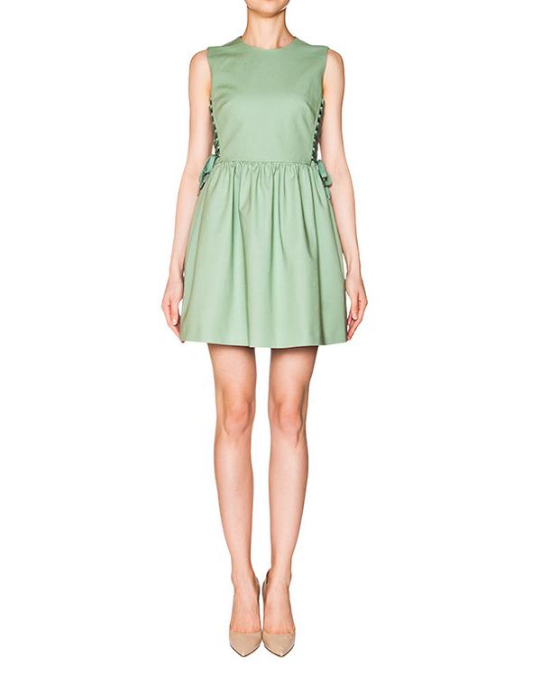 платье из плотного хлопка; по бокам шнуровка в корсетном стиле артикул KR0VA2C50VL марки Valentino Red купить за 20300 руб.