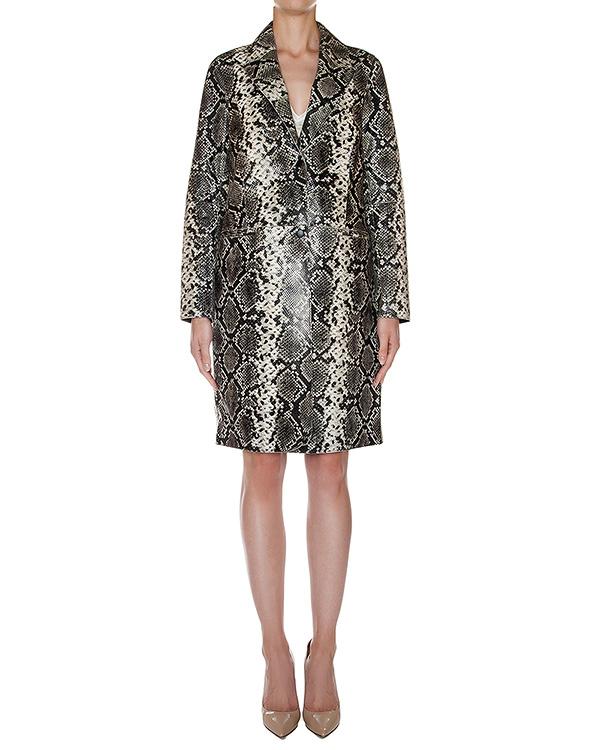 пальто из натуральной кожи с тиснением под кожу рептилии артикул LASSIE марки Essentiel купить за 27400 руб.