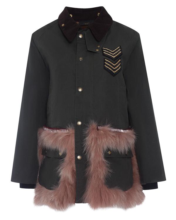 куртка  в стиле милитари из хлопка с отделкой натуральным мехом артикул LE0012R2 марки L'Edition купить за 97800 руб.