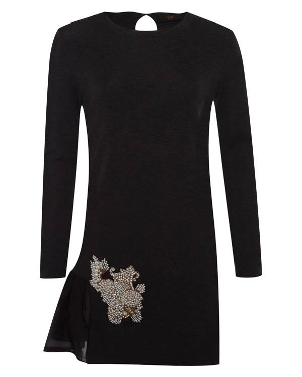 платье из шерсти с отделкой бисером и декоративным жемчугом артикул LE0320R2 марки L'Edition купить за 32300 руб.