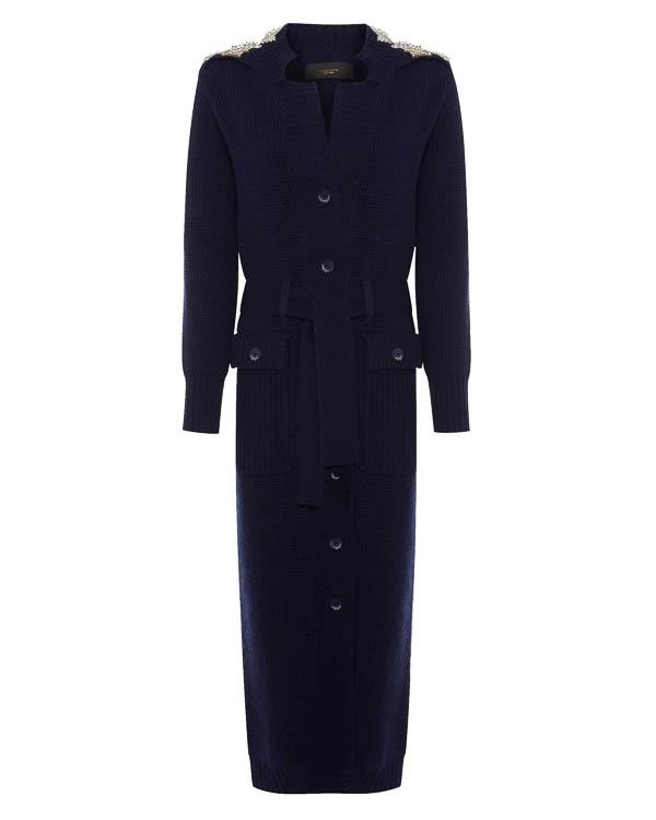 пальто из вязаной шерсти с отделкой бусинами артикул LE0325R49 марки L'Edition купить за 43300 руб.