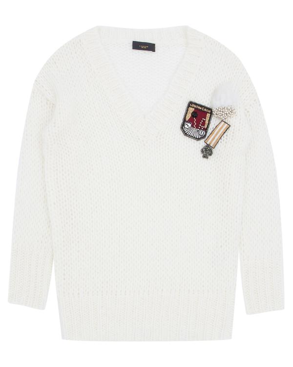 пуловер удлиненного силуэта с аппликациями  артикул LE0344R31 марки L'Edition купить за 24100 руб.