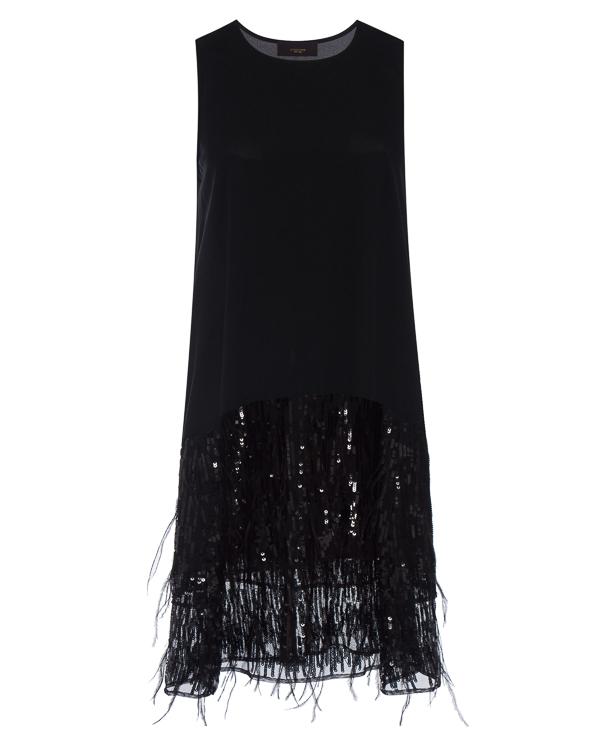 платье прямого силуэта с отделкой перьями и пайетками артикул LE0350 марки L'Edition купить за 21300 руб.