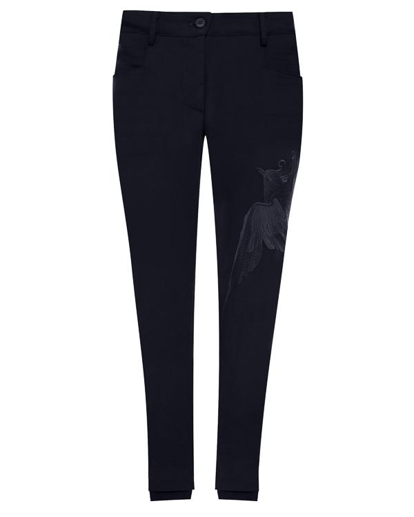 брюки из хлопка и шерсти с вышивкой  артикул LE0361R3 марки L'Edition купить за 19800 руб.