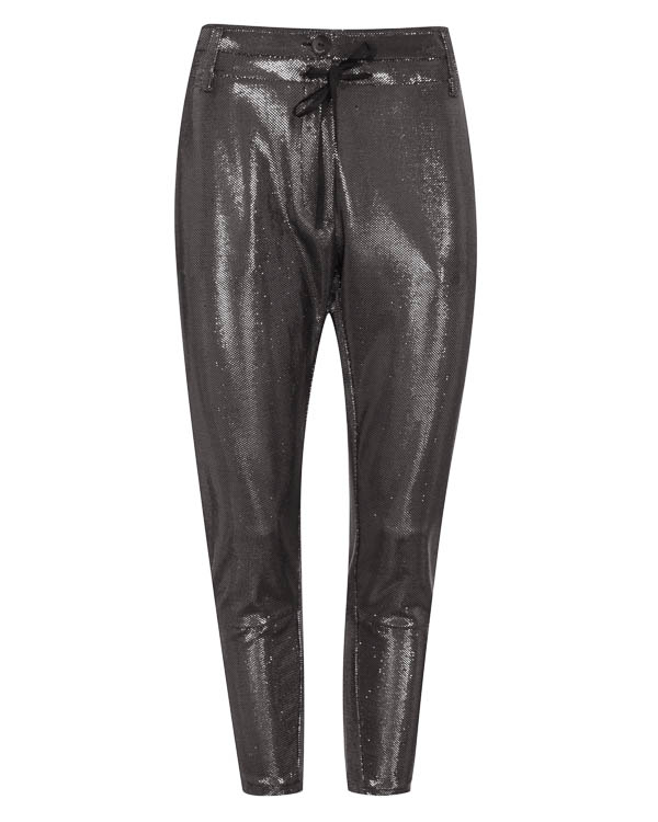 брюки из металлизированного материала  артикул LE0367 марки L'Edition купить за 13700 руб.