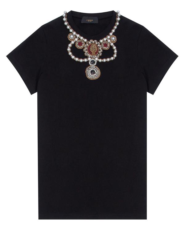 футболка прямого силуэта, декорированная жемчугом, кристаллами и бисером  артикул LE0379R4 марки L'Edition купить за 19400 руб.