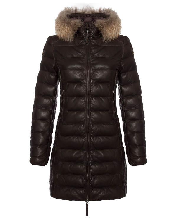 пальто из кожи с капюшоном  артикул LE32 марки Parajumpers купить за 76200 руб.