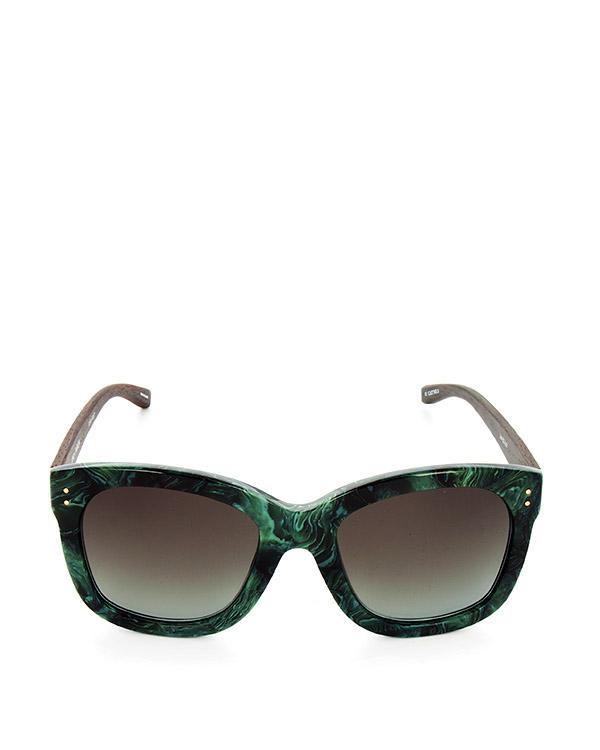 очки из итальянского ацетата цвета с деревянными дужками артикул LFL513C7SUN марки Linda Farrow купить за 39100 руб.