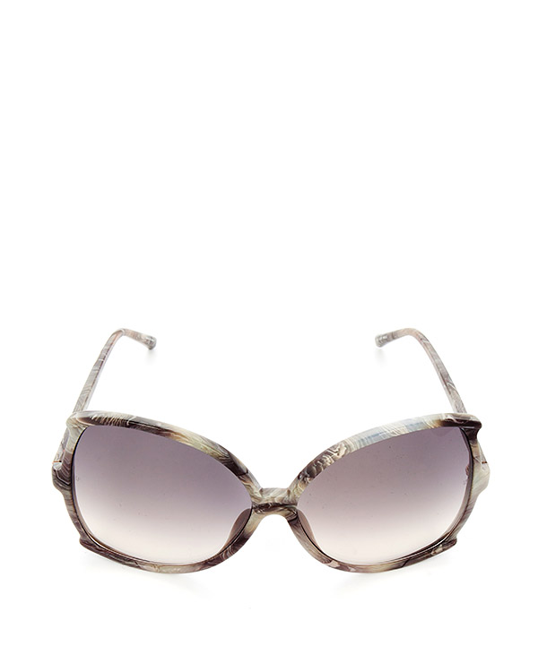 очки оригинальной формы из итальянского ацетата мраморного цвета артикул LFL514C13SUN марки Linda Farrow купить за 34000 руб.