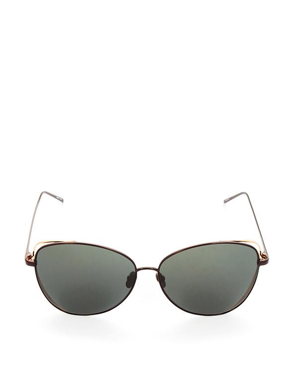 очки из матового титана с золотыми рамами по бокам артикул LFL566C78SUN марки Linda Farrow купить за 47100 руб.