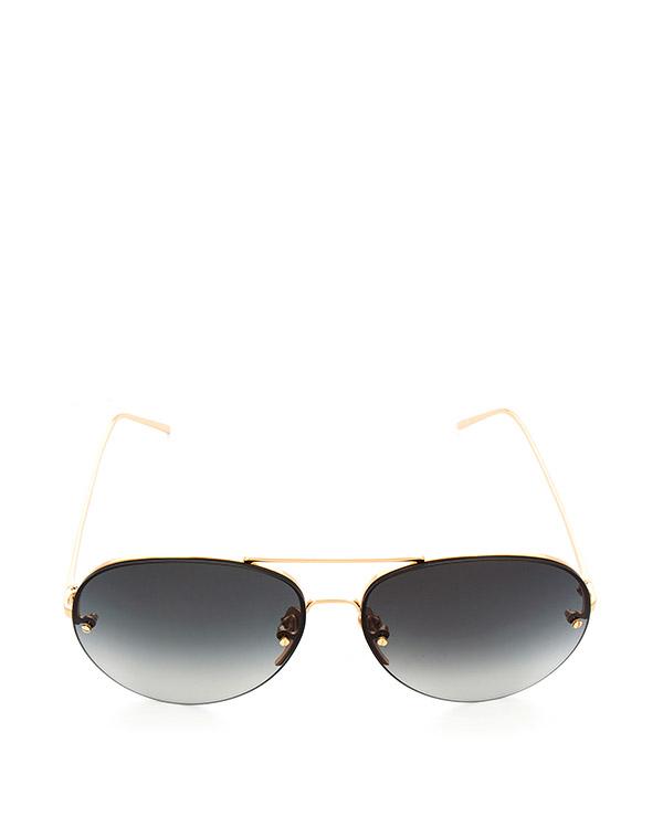 очки из матового титана с покрытием из желтого золота артикул LFL574C4SUN марки Linda Farrow купить за 47100 руб.