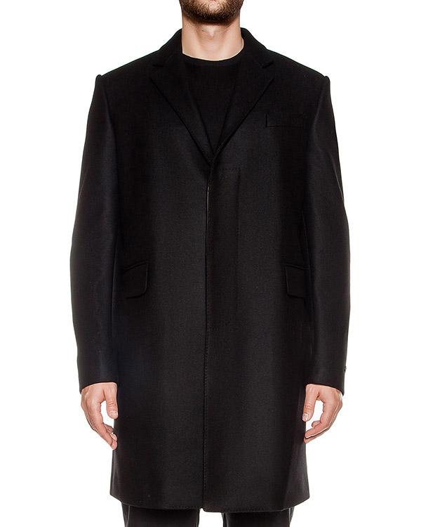 пальто прямого кроя из плотной шерсти, дополнено вставками из натуральной кожи артикул LHB101A марки Les Hommes купить за 57000 руб.