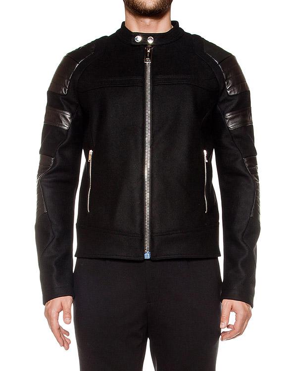 куртка из плотной шерсти, дополнена вставками из натуральной кожи артикул LHB252A марки Les Hommes купить за 52700 руб.