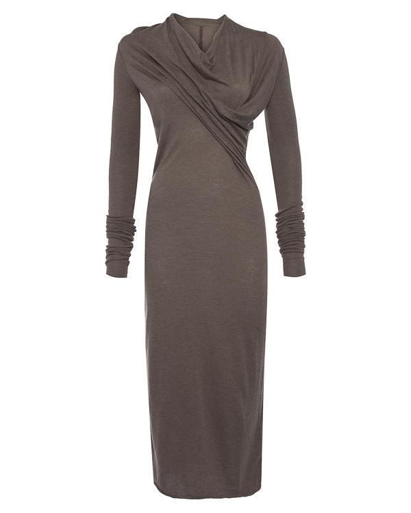 платье из тонкого трикотажа с драпировкой материала артикул LI17F4514 марки RICK OWENS LILLIES купить за 28100 руб.