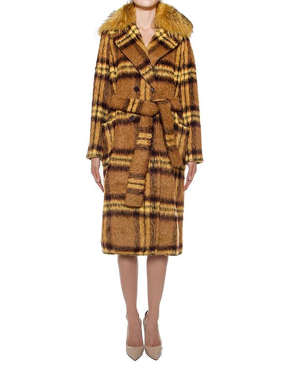 пальто из полушерстяной пряжи, дополнено отделкой из меха сурка артикул LIONEL430079P марки P.A.R.O.S.H. купить за 38300 руб.