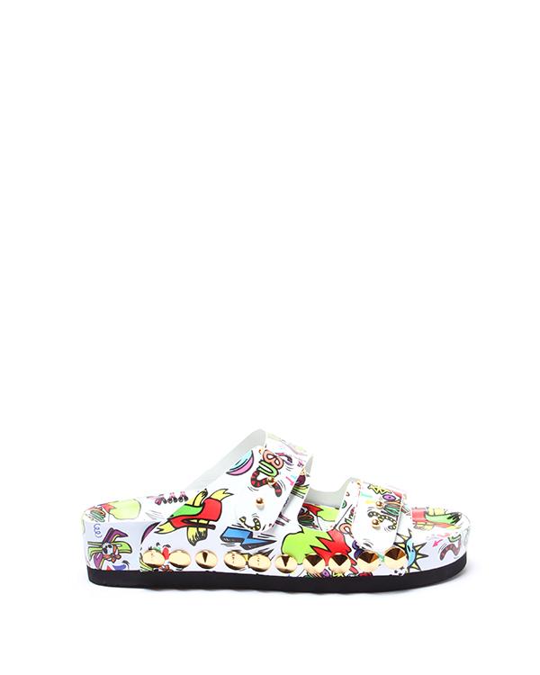 сланцы модель Flip Flop с принтом известного корейского художника Балко Ким артикул LJSX0171 марки Suecomma Bonnie купить за 14500 руб.