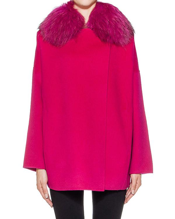 пальто из плотной шерстяной ткани, дополнено отделкой из меха сурка артикул LOVERY420513P марки P.A.R.O.S.H. купить за 25500 руб.