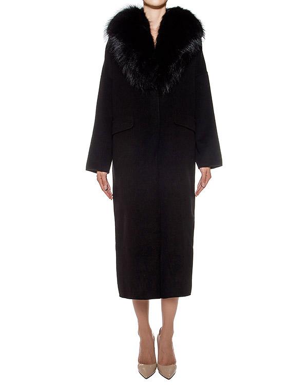 пальто из плотной шерстяной ткани, дополнено отделкой из меха сурка артикул LOVERY430552P марки P.A.R.O.S.H. купить за 74900 руб.
