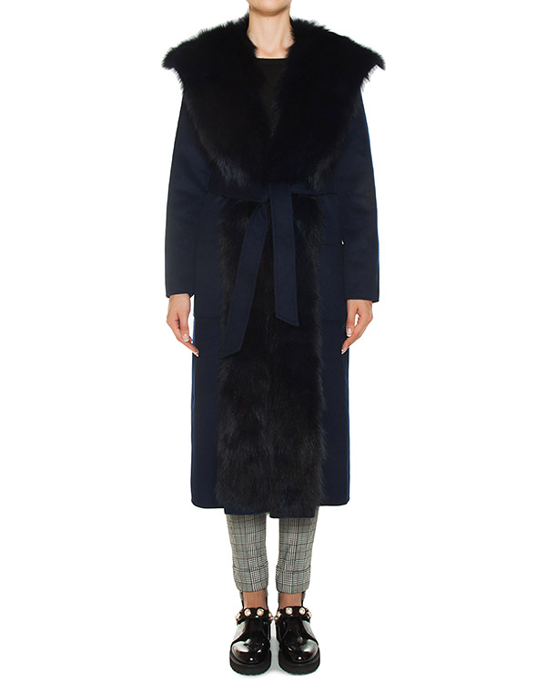 пальто из шерсти, отороченное натуральным мехом артикул LOVERYX430547P марки P.A.R.O.S.H. купить за 87400 руб.