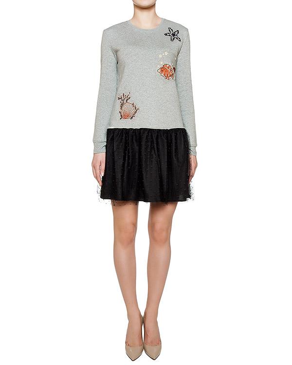 платье из хлопкового трикотажа с пышной юбкой; украшено вышивкой  артикул LR0MJ04F марки Valentino Red купить за 23300 руб.
